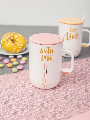 Biało-różowy ceramiczny kubek z pokrywką