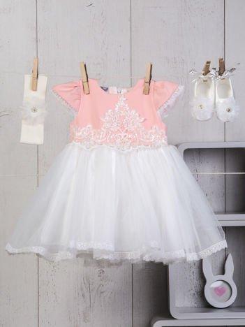 Biało-różowy niemowlęcy 3-elementowy zestaw wizytowy dla dziewczynki sukienka tiulowa buciki i ozdobna opaska