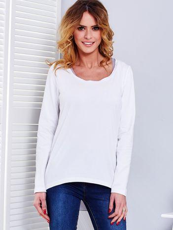 Biało-szara bluzka z tiulowym tyłem
