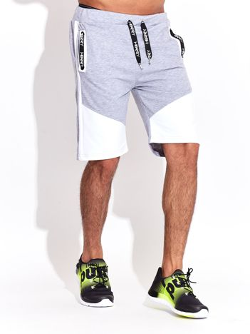 Biało-szare szorty męskie sportowe z kieszeniami i troczkiem