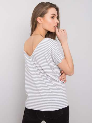 Biało-szary t-shirt Gina RUE PARIS