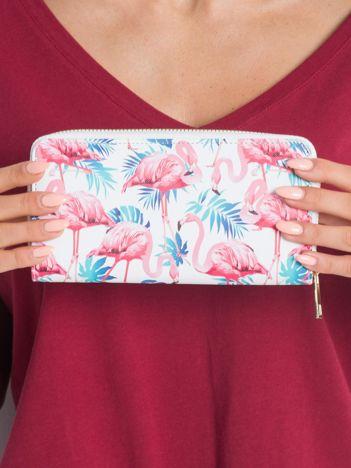 Biały damski portfel w flamingi