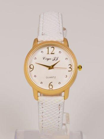Biały damski zegarek. Duże złote cyfry, cyrkonie. Elegancki. Doskonały na każdą okazję.