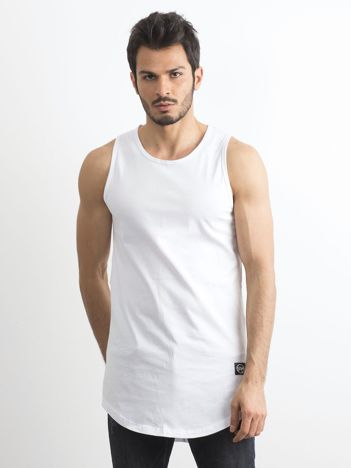 Biały długi tank top męski