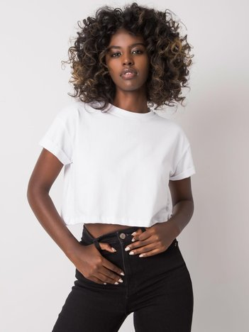 Biały krótki t-shirt Braelyn