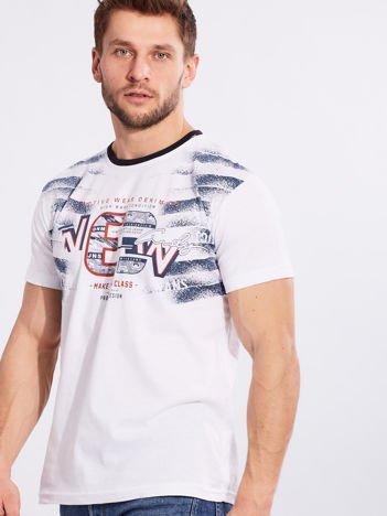 Biały męski t-shirt bawełniany