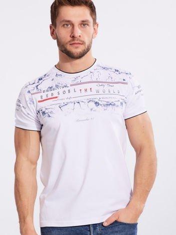 Biały męski t-shirt z bawełny