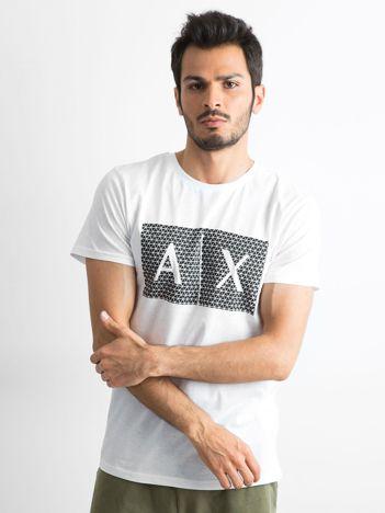 Biały męski t-shirt z nadrukiem