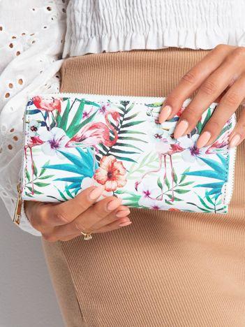Biały portfel z tropikalnym nadrukiem