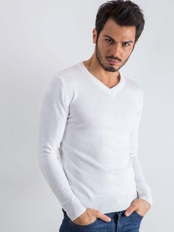 Biały sweter męski V-neck