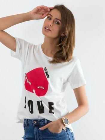 Biały t-shirt Distance