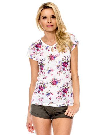 Biały t-shirt damski w kolorowe kwiaty