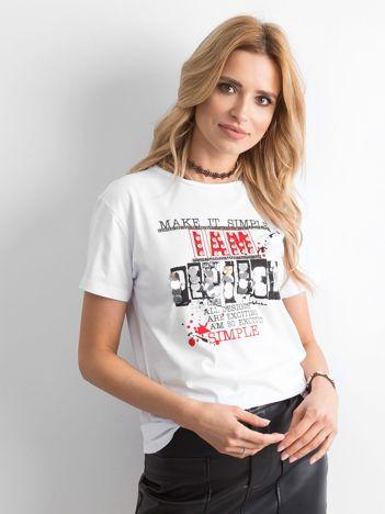 Biały t-shirt damski z nadrukiem i aplikacją