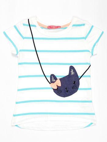 Biały t-shirt dla dziewczynki w jasnoniebieskie paski z kotem