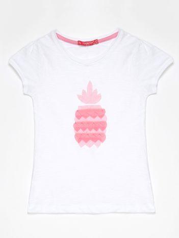 Biały t-shirt dla dziewczynki z różowym ananasem
