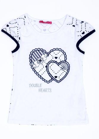 Biały t-shirt dla dziewczynki z sercami