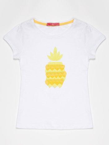 Biały t-shirt dla dziewczynki z żółtym ananasem