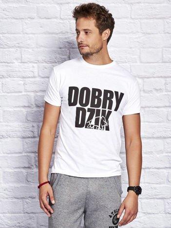 Biały t-shirt męski DOBRY DZIK