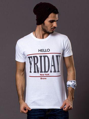 Biały t-shirt męski HELLO FRIDAY