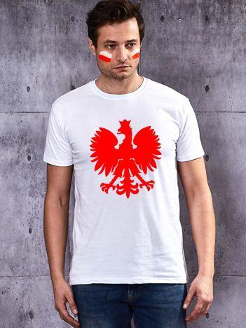 Biały t-shirt męski dla kibica z polskim godłem