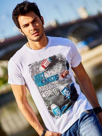 Biały t-shirt męski z fotograficznym printem