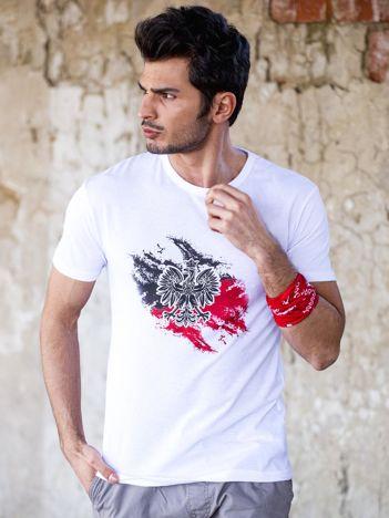 Biały t-shirt męski z motywem patriotycznym