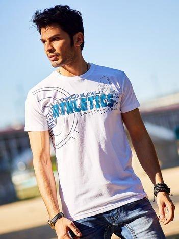 Biały t-shirt męski z motywem urban print