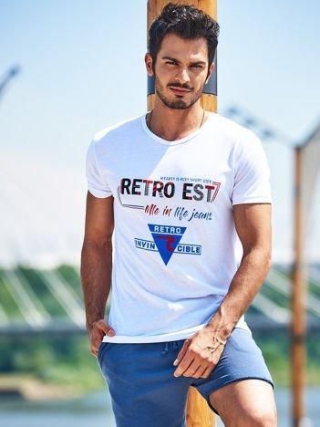 Biały t-shirt męski z nadrukiem napisów
