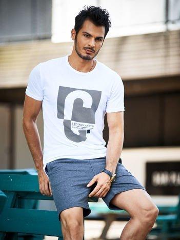 Biały t-shirt męski z nadrukiem w ukośne paski