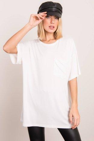 Biały t-shirt oversize BSL