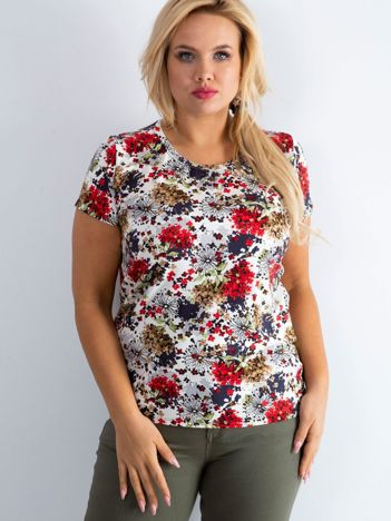 Biały t-shirt plus size w kwiaty