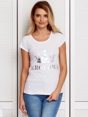Biały t-shirt z koroną