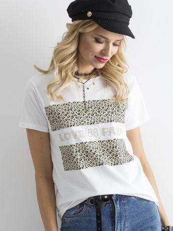 Biały t-shirt z nadrukiem w cętki