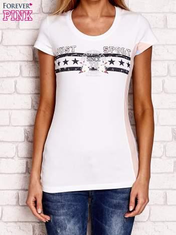 Biały t-shirt z napisem JUST SPORT