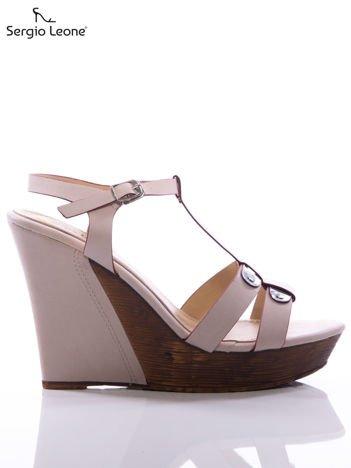 Bladoróżowe sandały Sergio Leone na koturnach