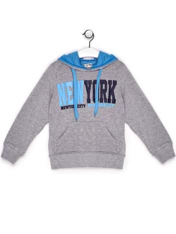 Bluza chłopięca z kapturem i napisem NEW YORK szara