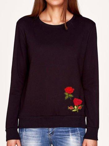 Bluza czarna z naszywkami FLOWERS