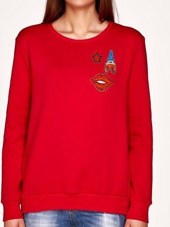 Bluza czerwona z naszywkami USTA,WIEŻA