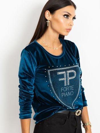 Bluza damska aksamitna z aplikacją z perełek i dżetów morska