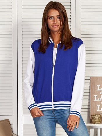 Bluza damska o kroju bomberki niebieska