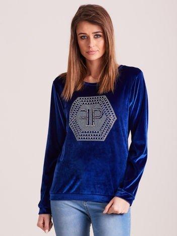 Bluza damska welurowa z błyszczącymi kamykami niebieska