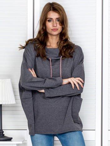 Bluza damska z kolorowymi troczkami ciemnoszara