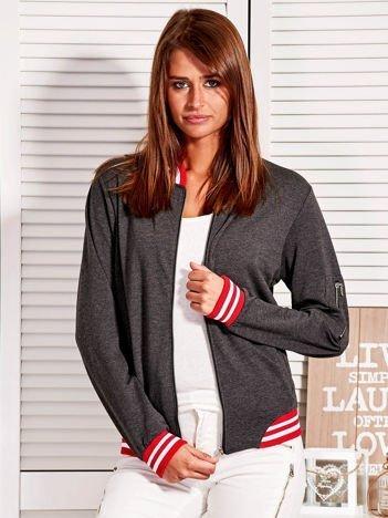 Bluza damska z kontrastowymi ściągaczami i naszywkami ciemnoszara