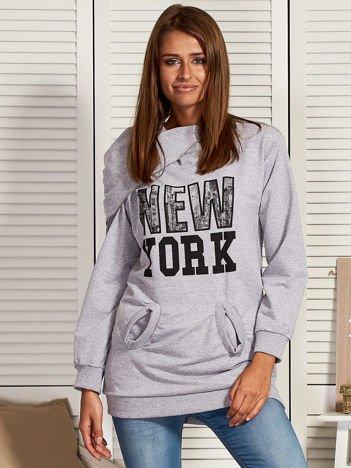 Bluza damska z motywem Nowego Jorku szara