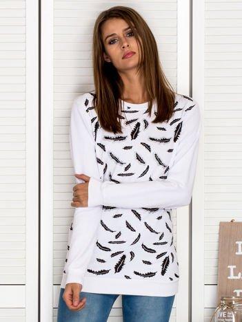 Bluza damska z nadrukiem liści biała