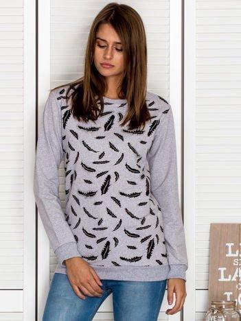 Bluza damska z nadrukiem liści szara