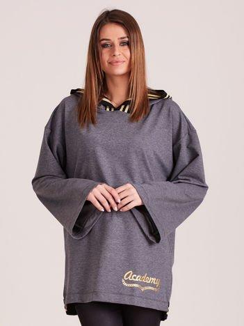 Bluza damska ze ściągaczami i złotym napisem ciemnoszara