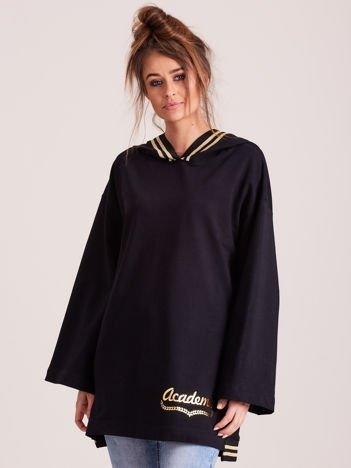Bluza damska ze ściągaczami i złotym napisem czarna