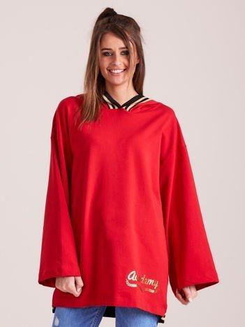 Bluza damska ze ściągaczami i złotym napisem czerwona