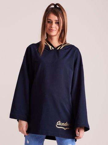 Bluza damska ze ściągaczami i złotym napisem granatowa